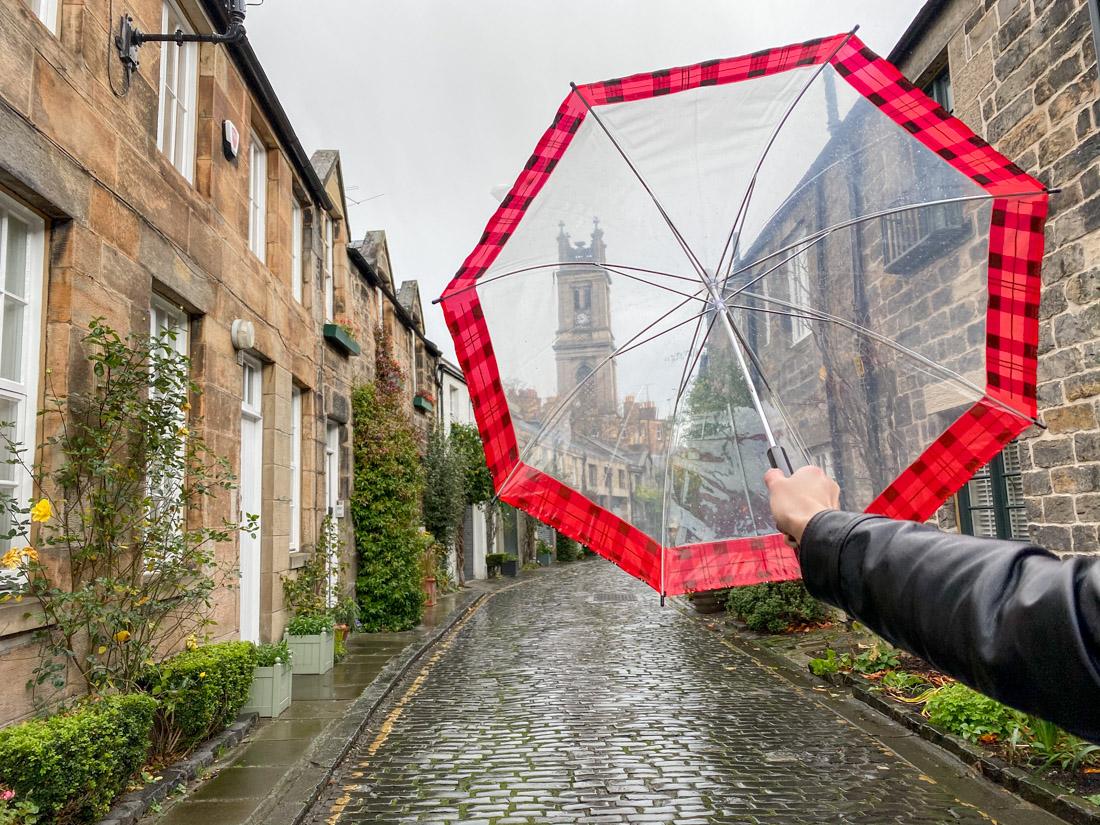 Rainy day in Edinburgh umbrella on Circus Lane