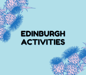 Edinburgh Activities written in black text against light blue with pink thistles