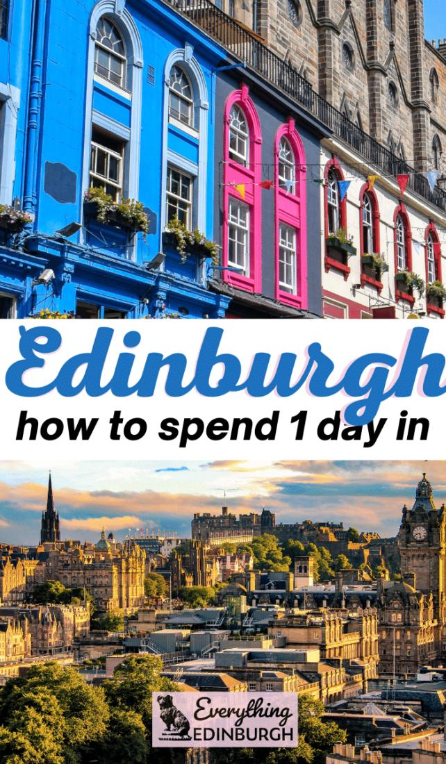 Edinburgh in a day - Victoria Street bright colored shops and Edinburgh Castle skyline