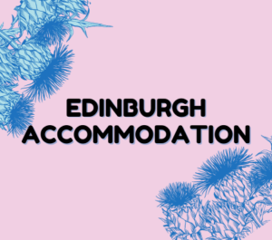 Edinburgh Accommodations written in black text against light pink with blue thistles