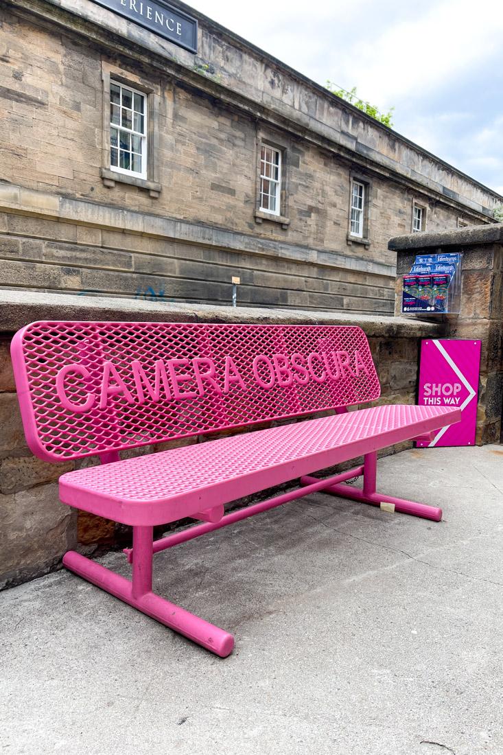 Camera Obscura Edinburgh Pink Bench