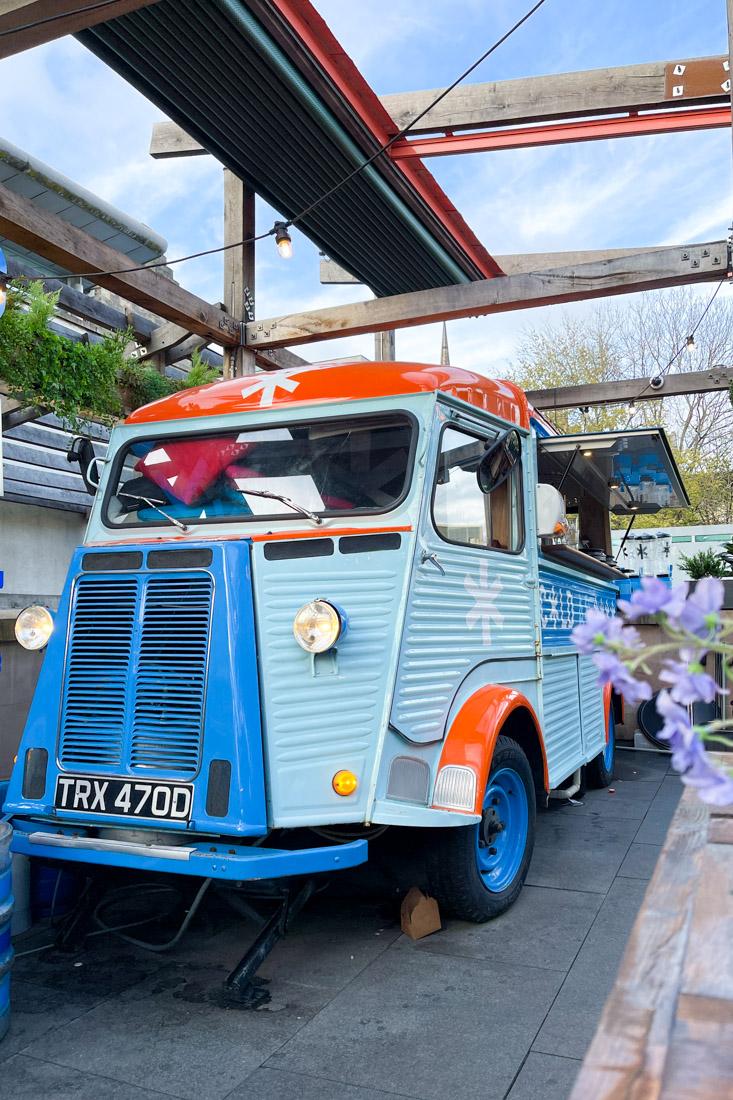 Cold Town House blue caravan bar