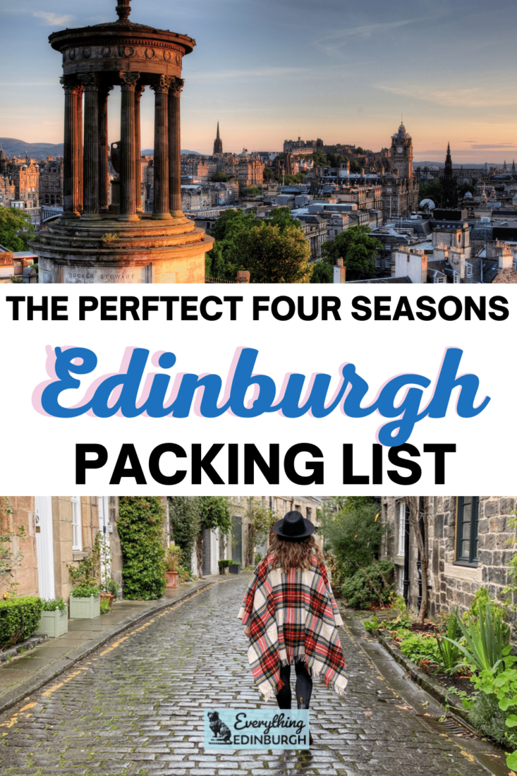 Edinburgh packing list images: Calton Hill at sunset and woman in tartan cape at Circus Lane