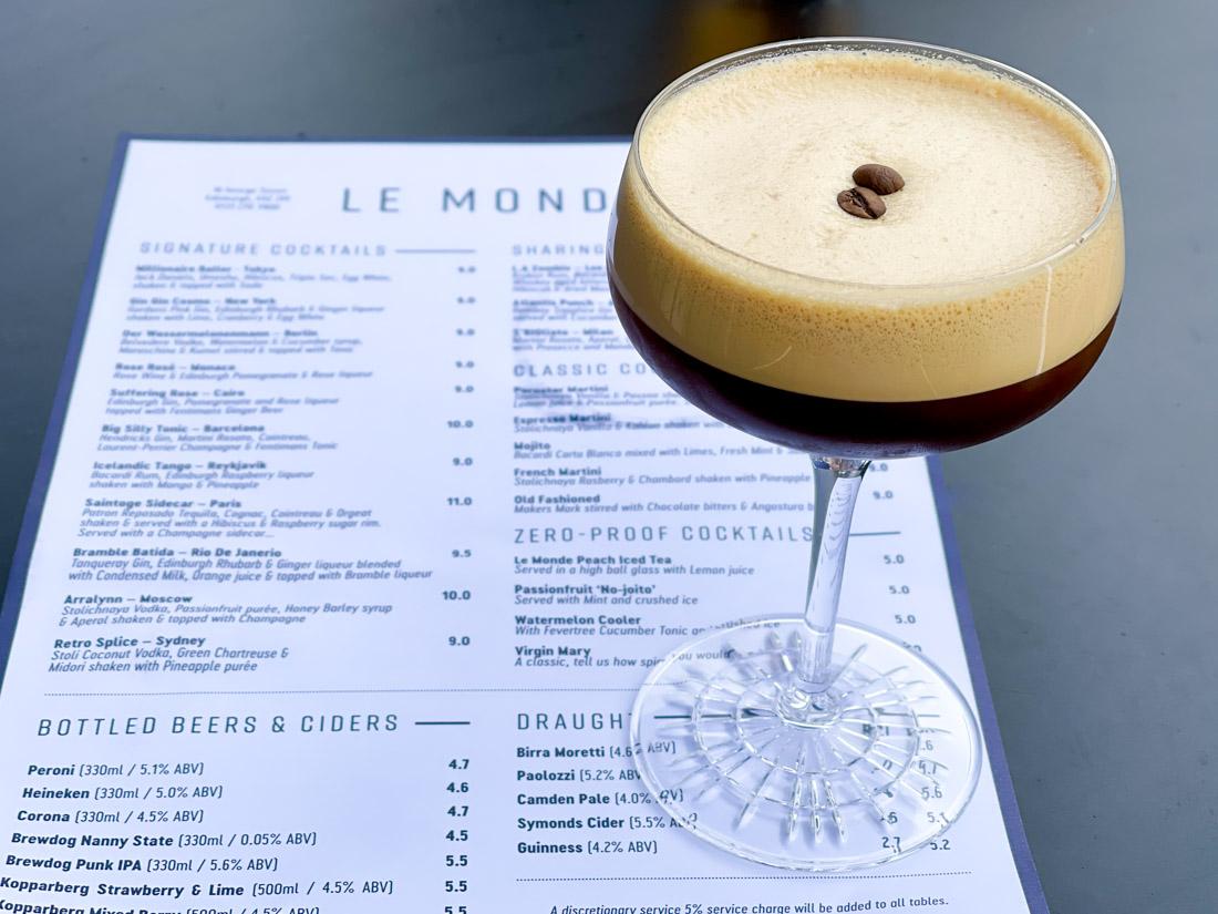 Le Monde bar menu and espresso martini Edinburgh