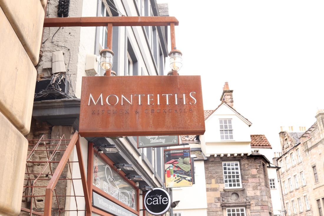 Monteiths Bar Sign on the Royal MileEdinburgh
