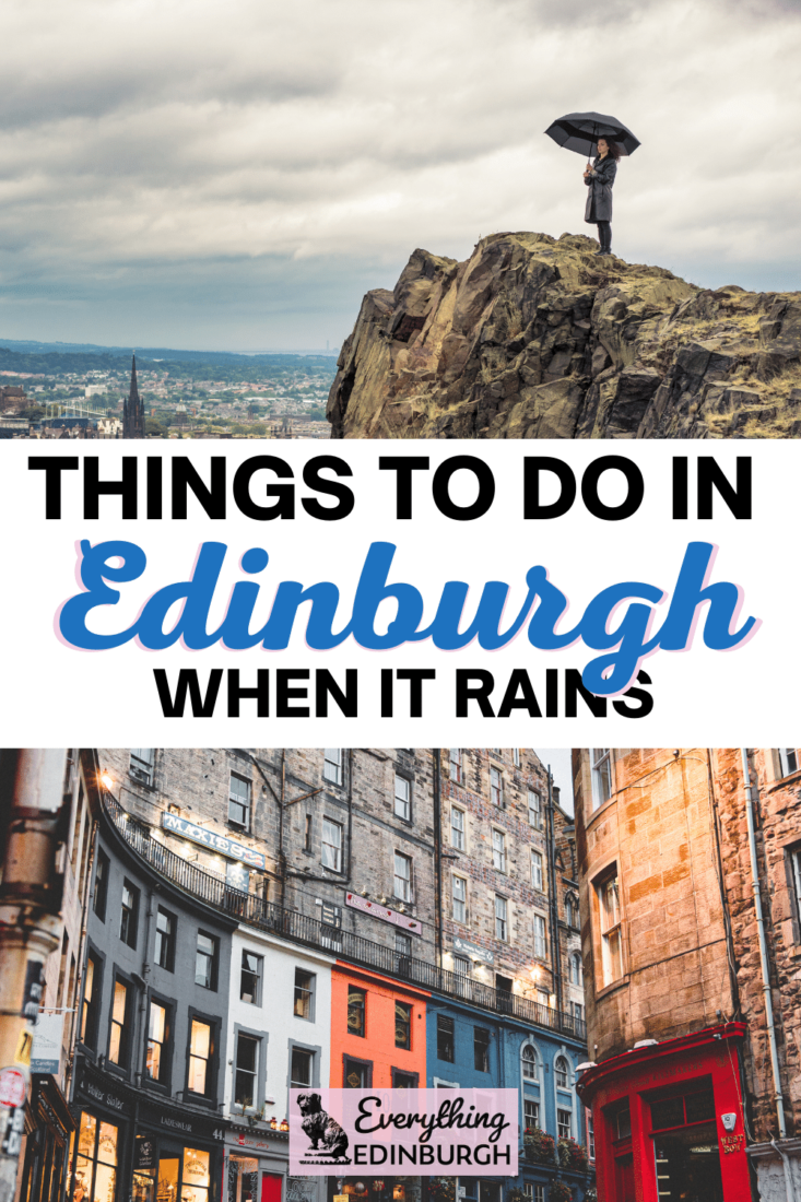 Things to do in Edinburgh on a rainy day - Girl with umbrella on top of hill, dark skies on colorful building