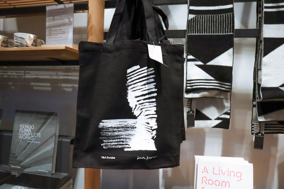 Black tote bag hanging up