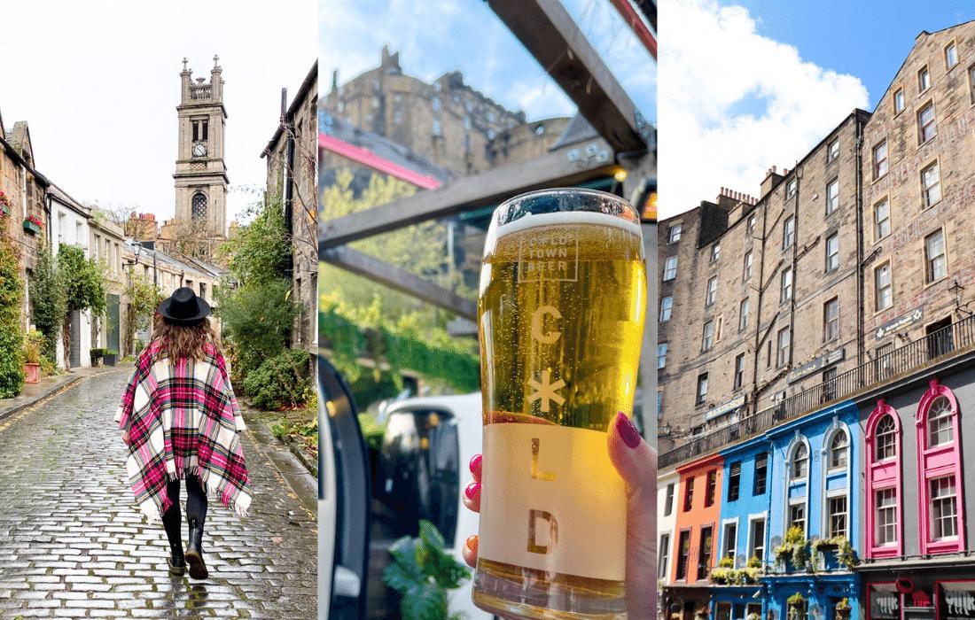 Weekend in Edinburgh - woman with tartan cape on Circus Lane, beer at Edinburgh Castle, Victoria St colorful buildings
