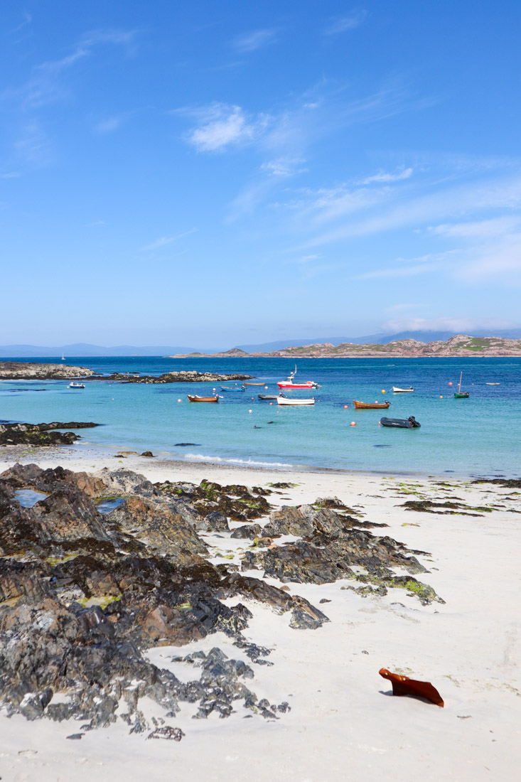 Iona Beach in Scotland with boats