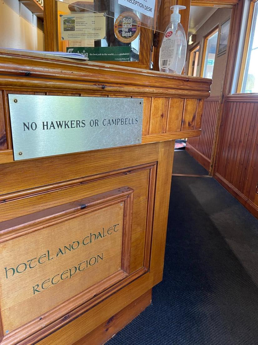 No hawkers or Cambpeblls at The Clachaig Inn Food Scotland