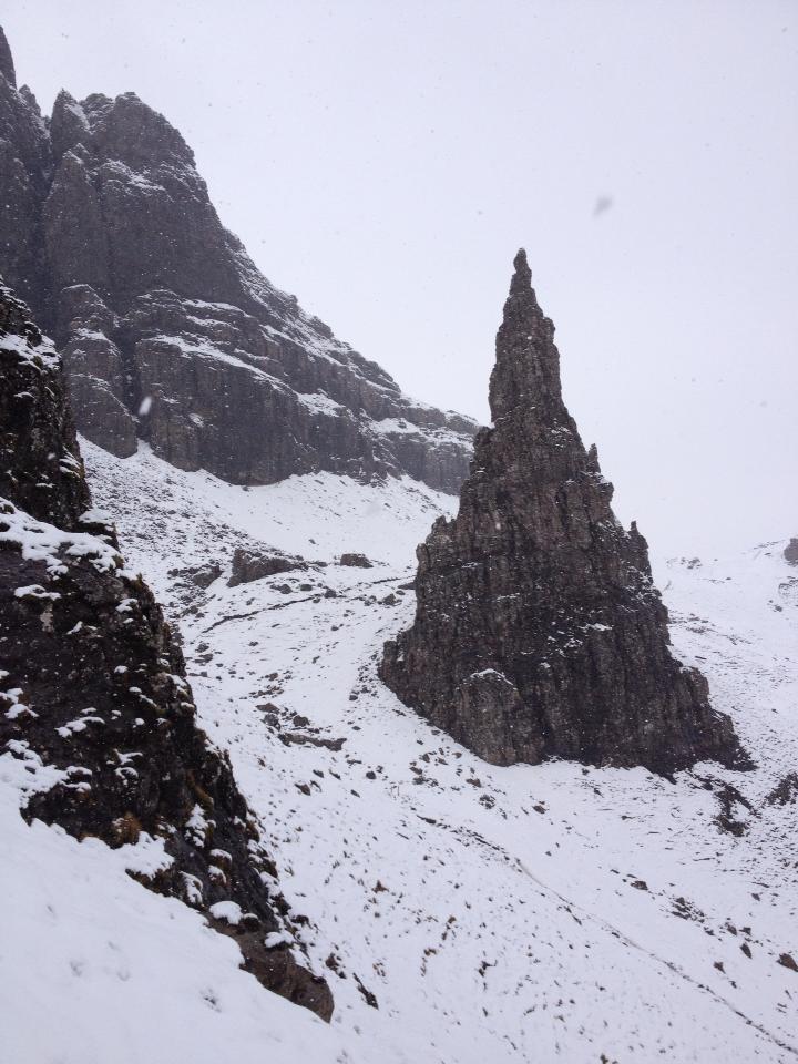 Snow on Old Man of Storr Skye