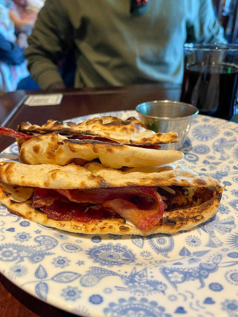 Dishoom bacon naan brunch breakfast food