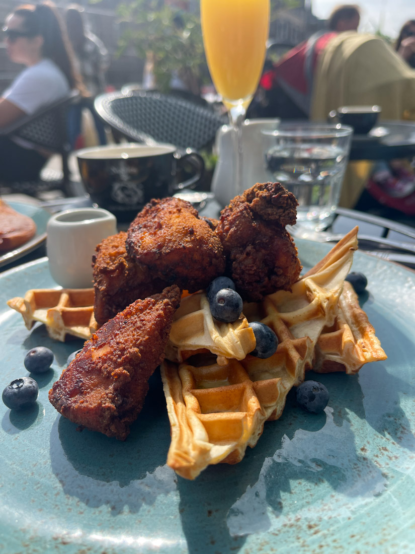 Nobles brunch Leith food chicken waffles